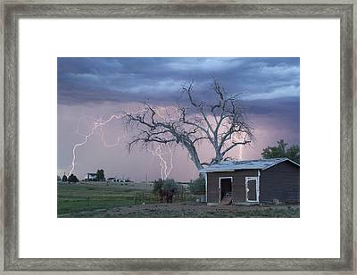 Country Horses Lightning Storm Ne Boulder County Co 76 Framed Print by James BO  Insogna