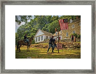 Cutting Down The Yankee Flag Pole Framed Print by Boyd Alexander