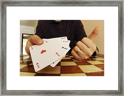 Four Aces In Hands Framed Print by Sami Sarkis
