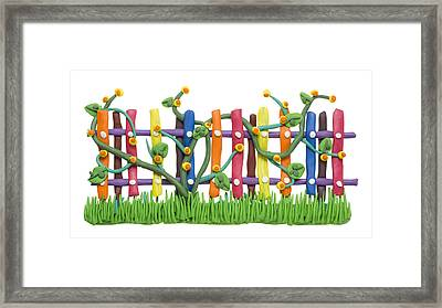 Fragment Of The Village Fence And Flowers Framed Print by Aleksandr Volkov