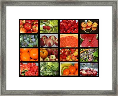 Fruits Collage Framed Print by Yumi Johnson