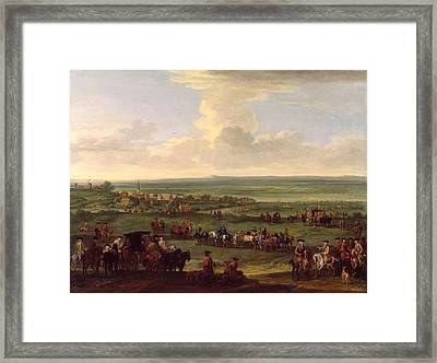George I - At Newmarket Framed Print by John Wootton