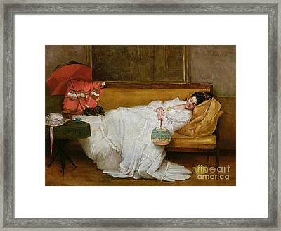 Girl In A White Dress Resting On A Sofa Framed Print by Alfred Emile Stevens