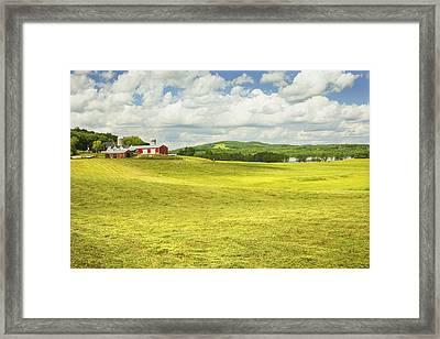 Hay Harvesting In Field Outside Red Barn Maine Framed Print