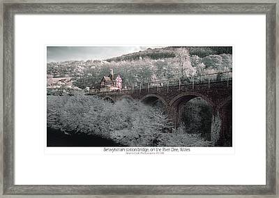 Infrared Train Station Bridge Framed Print