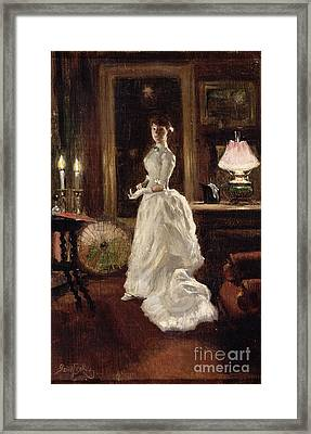 Interior Scene With A Lady In A White Evening Dress  Framed Print