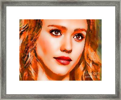 Jessica Alba Portrait A Framed Print by Andre Drauflos