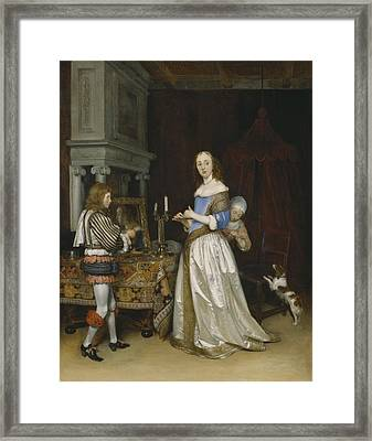 Lady At Her Toilette Framed Print by Gerard ter Borch