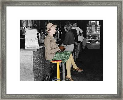Lady In A Diner Framed Print by Andrew Fare