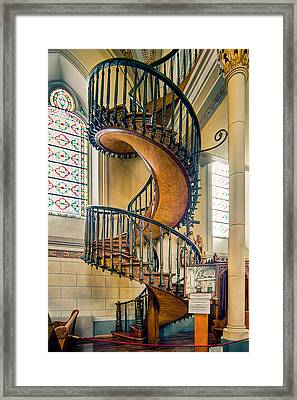 Framed Print featuring the photograph  Loretto Chapel Staircase by Anna Rumiantseva