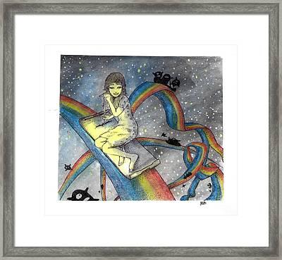 Midnight's Rainbows Framed Print by Katchakul Kaewkate