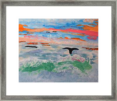 Framed Print featuring the painting  Misty Sea At Sunset by Meryl Goudey