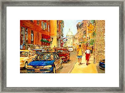 Old Montreal Paintings Aux Delices De L'erable The Maple Syrup Shop Rue St. Paul Montreal Street  Framed Print
