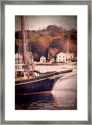 Old Ship Docked On The River Framed Print by Jill Battaglia
