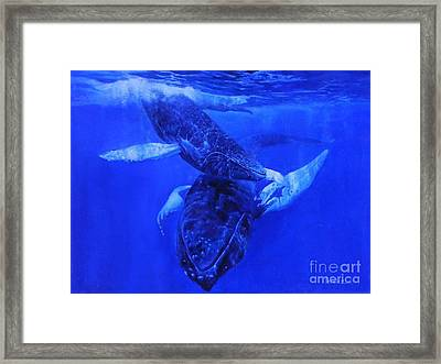 Framed Print featuring the painting  Playful Humpbacks by Noe Peralez