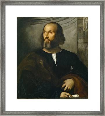 Portrait Of A Bearded Man Framed Print by Titian