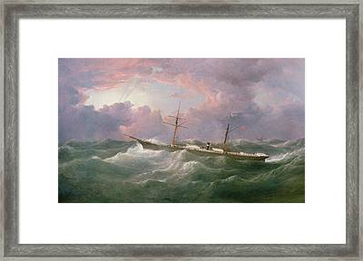 Portrait Of The Lsis A Steam And Sail Ship Framed Print by Samuel Walters