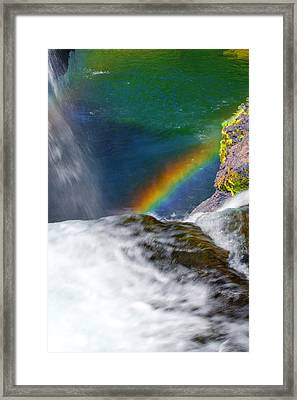 Rainbow By The Waterfall Framed Print by Ansel Price