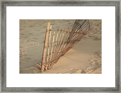 Sandy Beach Fence Framed Print by Ann Murphy