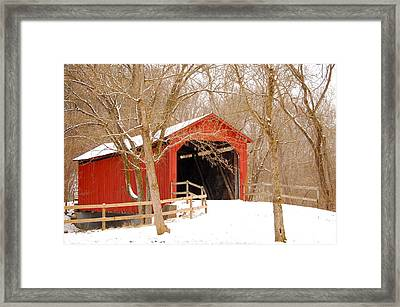 Framed Print featuring the photograph  Sandy Creek Cover Bridge  by Peggy Franz