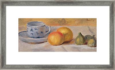 Still Life With Blue Cup Nature Morte A La Tasse Bleue Framed Print by Pierre Auguste Renoir