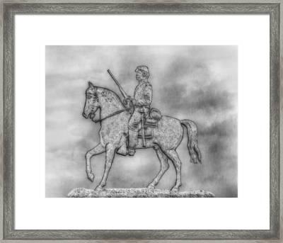Stone Sentinel Gettysburg Battlefield Sketch Framed Print by Randy Steele
