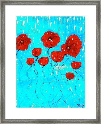 The Red Poppies Dancing In The Rain Framed Print by Pretchill Smith