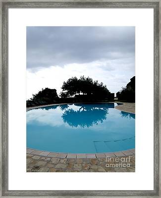 Framed Print featuring the photograph  Tree At The Pool On Amalfi Coast by Tanya  Searcy
