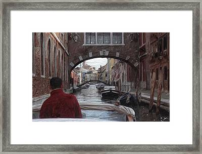 Venice Canal Digital Oil Painting Framed Print by Heinz G Mielke