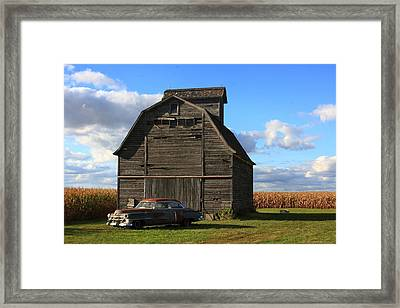 Vintage Cadillac And Barn Framed Print by Lyle Hatch