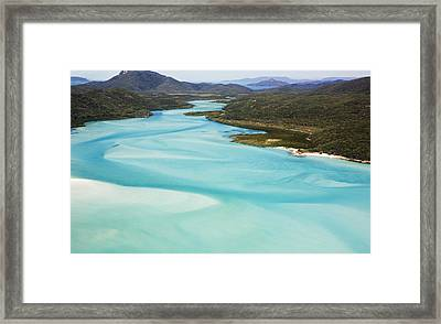 Whitehaven Beach And Hill Inlet In Whitsunday Islands National Park, Queensland, Australia Framed Print by Peter Walton Photography
