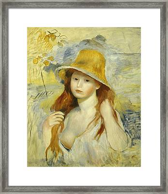 Young Girl With A Straw Hat Framed Print by Pierre Auguste Renoir