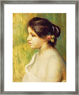 Young Woman With Flowers At Her Ear Framed Print by Pierre Auguste Renoir