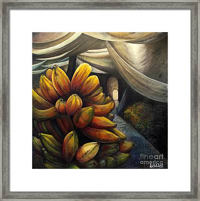 Framed Print featuring the painting 01002 Banana Market by AnneKarin Glass