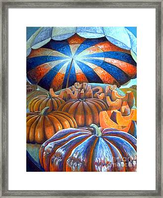 Framed Print featuring the painting 01014 Pumpkin Harvest by AnneKarin Glass