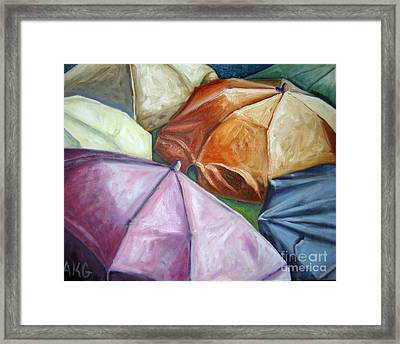 Framed Print featuring the painting 01132 Beach Umbrellas by AnneKarin Glass