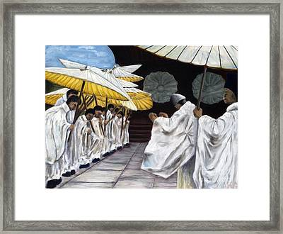 Framed Print featuring the painting 01148 Cermonial Umbrellas by AnneKarin Glass