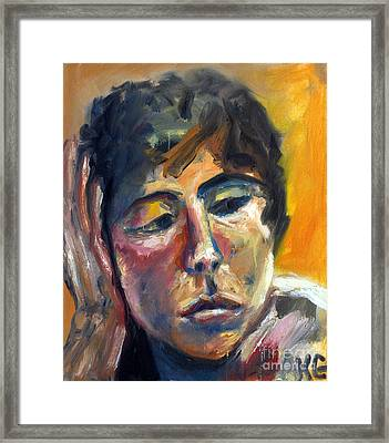 Framed Print featuring the painting 01154 Pensive Clair by AnneKarin Glass