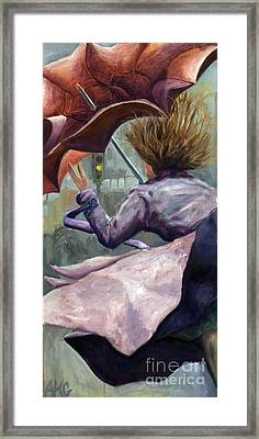 Framed Print featuring the painting 01155 Wild Umbrella by AnneKarin Glass