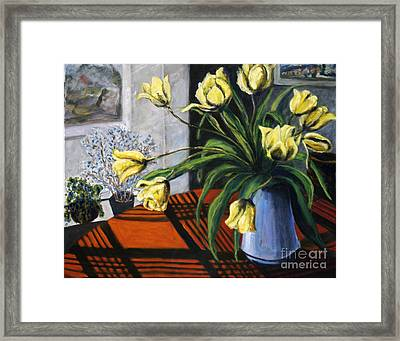 Framed Print featuring the painting 01218 Yellow Tulips by AnneKarin Glass