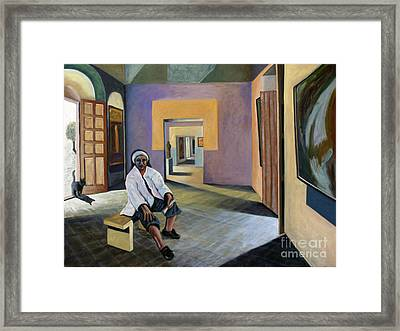 Framed Print featuring the painting 01240 Culture Cat by AnneKarin Glass
