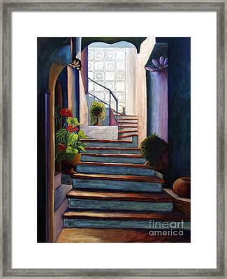 Framed Print featuring the painting 01243 Enlightened Cat by AnneKarin Glass