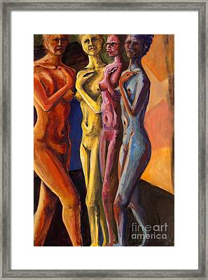 Framed Print featuring the painting 01249 Four Sister by AnneKarin Glass