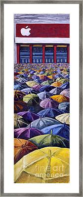 Framed Print featuring the painting 02153 Ipad Launch by AnneKarin Glass