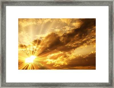 Sunrise With Clouds Framed Print by Nattapon Wongwean