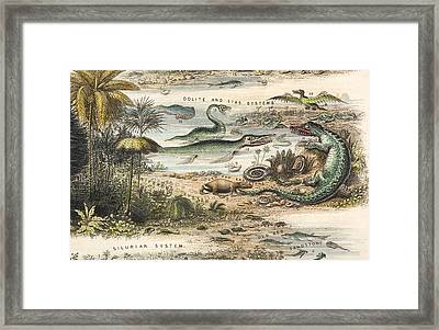 1849 The Antidiluvian World Crop Jurassic Framed Print