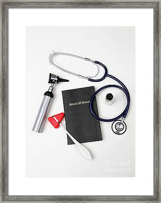 1899 Mercks Manual And Medical Equipment Framed Print by Photo Researchers, Inc.
