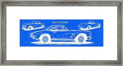 1962 Corvette Blueprint Framed Print