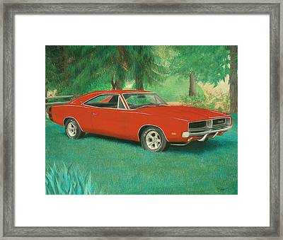 1969 Dodge Charger Rt Painting Framed Print