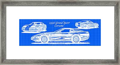 Framed Print featuring the drawing 1996 Grand Sport Corvette Blueprint by K Scott Teeters